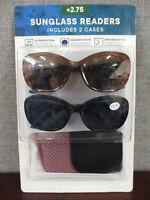 NEW Eyewear Ltd. 2 pack Women's Invisible Seam Bifocal Sunglasses Readers +2.75