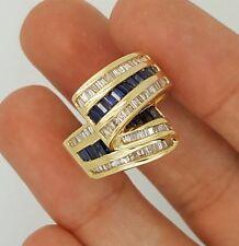 VINTAGE 14K YELLOW GOLD BAGUETTE BLUE SAPPHIRE & DIAMOND COCKTAIL LADIES RING