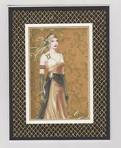 Blank Handmade Greeting Card ~ ANY OCCASION with GLAMOROUS LADY ON GOLD