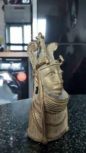 African Benin King Oba Bronze/Brass Bust - 16cms