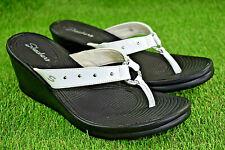 Skechers Cali White Women's Rhinestone Bling Studded Thongs Wedge Sandals Sz 10