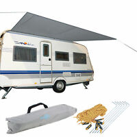 Sonnensegel für Wohnwagen & Wohnmobil grau 3,50 x 2,4 Wassersäule 2000 mm