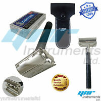 Butterfly Safety Razor & 10  Double Edge Blades Classic Shaving Vintage YNR