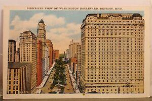 Michigan MI Detroit Washington Blvd Bird's Eye Postcard Old Vintage Card View PC