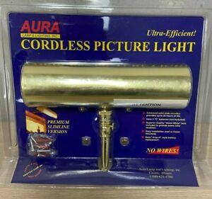 "New Aura Polished Brass Slimline LED Cordless Picture Light 7 3/4"""