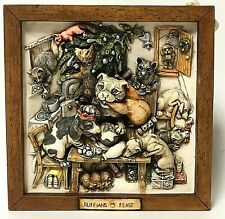 Harmony Kingdom 'Ruffians Feast' Christmas Dogs Retired Picturesque Tile Display