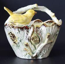 "Ucagco Ceramics Yellow Bird on Tree Trunk Basket Figurine Made in Japan 5"""