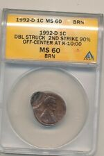 1992-D DBL STRUCK LINCOLN CENT-2ND 90% O/C K-10:00-ANACS MS60 BRN! -AA629DHXX