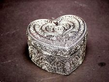 Heart Shape Silver Color Jewellery Trinket Box Storage Treasure Chest / Box #4