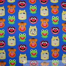 BonEful Fabric Cotton Quilt Blue Red White MUPPET Movie Cartoon Jim Henson SCRAP