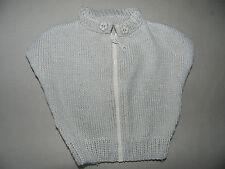 Gilet type poncho bébé fille 9 mois tricoté main beige