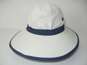 COOLIBAR White/Blue WIDE BRIM HAT Sailing Sail Boat Summer Beach Hike Cap 7 3/8