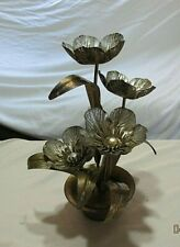 """Vtg Rusty Metal Tin? Bouquet Flowers in Pot Goldtone Made Italy 11"""""""