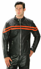 Mens XELEMENT Black w/Orange Stripes Speedster Motorcycle Biker Leather Jacket M