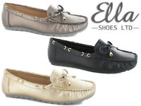 Ladies Loafer Slip On Shoes Bow Moccasins Comfort Padded Flats Dolly Ella Shoes