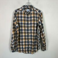 Columbia Button Front Shirt Men's Medium Plaid Brown Long Sleeve EUC
