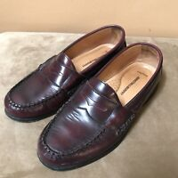 Johnston And Murphy Brown Sheepskin Leather Slip On Loafers Shoes size 8
