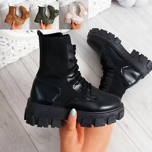 WOMENS LADIES ANKLE BOOTS CHUNKY PLATFORM LACE UP WINTER WOMEN SHOES