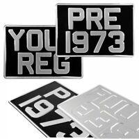 2x SQUARE 12x8 Black and Silver Pressed Number Plates Metal Classic Aluminium