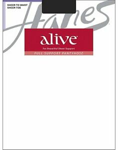 Hanes Alive Support Sheer to Waist Pantyhose Sandal foot Nude Toe to Waist 811