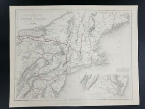 1800 Map United States New England Northeast Part Antique USA Northern Print Old