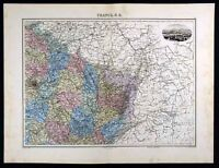 1880 Migeon Map - NE France - Paris Belfort Reims Nancy