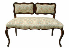 Antique French Louis XV Walnut Window Hall Loveseat Bench, Circa 1920s'