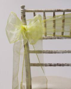 100 LEMON ORGANZA CHAIR SASHES - CHAIR BOW - WEDDING EVENTS PARTY DECOR