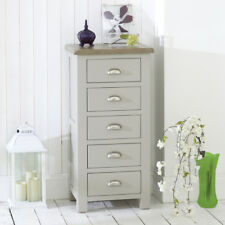 Chester Grey Painted 5 Drawer Tallboy Chest with Oak Top - Wellington - GS02