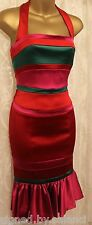 Karen Millen Stretch Satin Colour Block Halterneck Stripe Frill Party Dress 8 36