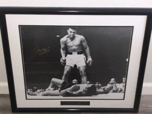 Muhammad Ali Cassius Clay over Liston Signed Autographed 16x10 Photo. Framed B&W