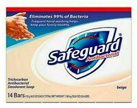 14 BARS Safeguard BEIGE Antibacterial Deodorant Bar Soap for Men & Women 4 ounce