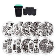 10* Nail Art Stencil Stamping Template Plate Set Tool Stamper Design Kit LNAU
