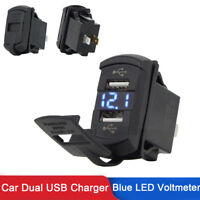 12V Dual USB Charger Socket Blue LED Voltmeter for Auto Car Dash Switch Panel