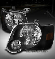 FOR 06-10 FORD EXPLORER/07+ SPORT TRAC CRYSTAL HEADLIGHTS LAMPS BLACK LEFT+RIGHT