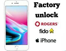 Rogers Fido Factory Unlock iPhone X 8+ 8 7+ 7 6+ 6 5s 5c 5 4s 4 Premium