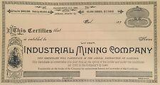 Industrial Mining Company > Jackson Amador County California stock certificate