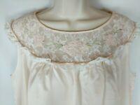 BARBIZON CELESTE VTG Peach Satin Night Gown Sleeveless Lace Embroidery Floral SM