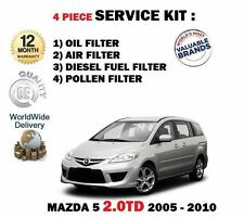 FOR MAZDA 5 2.0DT RF7J 2005-2010 OIL AIR FUEL POLLEN 4 FILTER SERVICE KIT