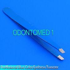 "New 3.5"" Eyebrow Tweezers SLANTED Precision Tip - BLUE - SOLID CLASSIC Design"