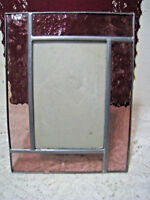 Leaded Stained Glass Picture Frame Pink Holds 4x6 Photo