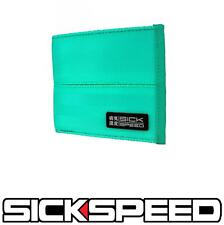 SICKSPEED WALLET SEAT BELT SEATBELT PAD RACING HARNESS BIFOLD BILLFOLD TEAL P4