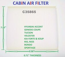 C35865 Cabin Air Fillter For KIA HYUNDAI Accent Veloster Rondo CF10709 CAF1820P