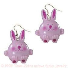 Funky HUGE CHUNKY BUNNY EARRINGS-Pink Rabbit Easter Garden Charm Costume Jewelry