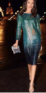 Kaleidoscope Blue Sequin Bodycon Dress Long Sleeve Was £119 Size 12