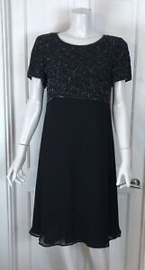 Beautiful Black Beaded Cocktail Dress Size 16
