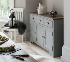 Canterbury Dresser Sideboard 3 Drawer With Solid Drawers in Choice of Colours Silk Grey & Dark Pine