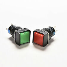 16mm 12V DC Push Button Self-Reset Switch Square LED Light Momentary LatchingJHC