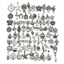 80PC Tibetan Silver Mix Pendant Charms Jewelry Findings Making Bracelet Necklace