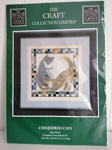 The Craft Collection Ltd Counted Cross Stitch Chequered Cats 28 x 29 cm NEW
